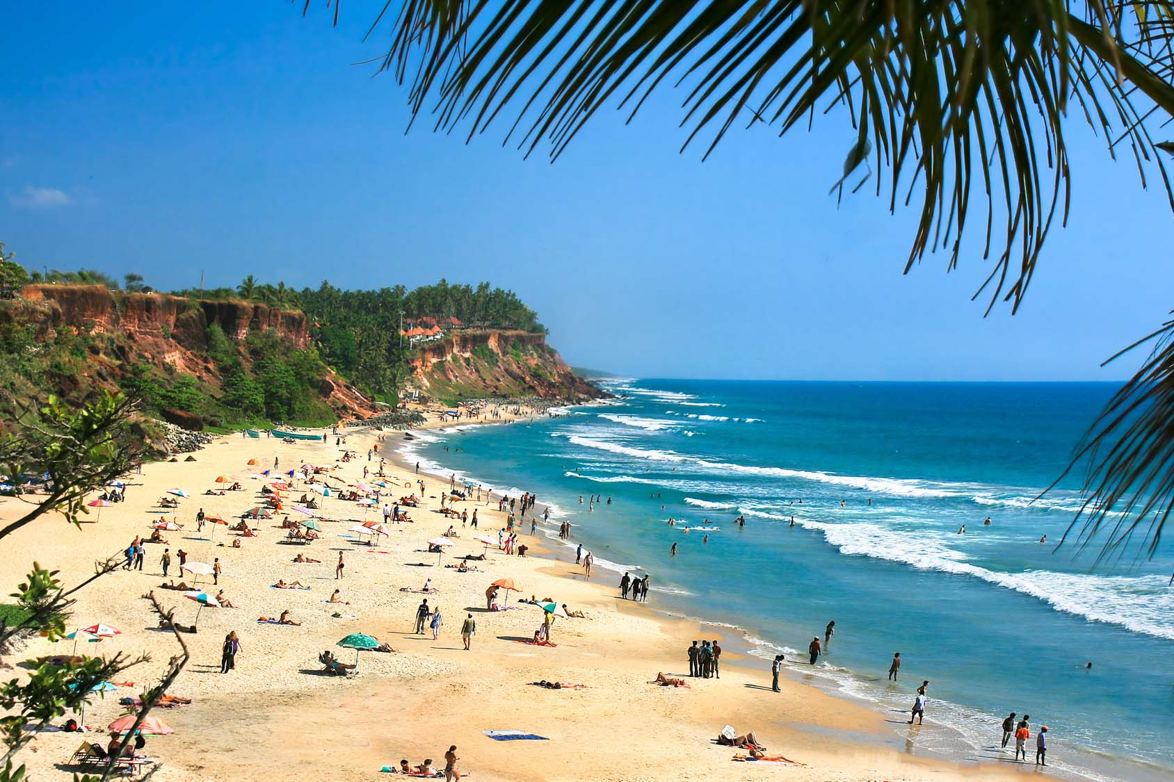 Main beach in Varkala,  Kerala, India